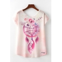 Pink Fancy Dreamcatcher Printed Short Sleeve Round Neck Loose Tee Top for Women
