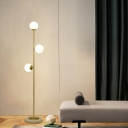 Brass Finish Ball Standing Floor Light Postmodern 3-Head White Frosted Glass Floor Lamp