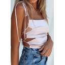 Stylish Ladies Bow Tied Shoulder Hollow out Sides Fitted Crop Cami Top in White