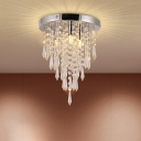 Chrome Finish Raindrop Ceiling Flush Modernist Crystal Drip LED Flush Mounted Lighting
