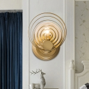Gold 1/2-Bulb Sconce Lighting Post Modern Metal Multi-Ring Wall Lamp with Ripple Crystal Shade