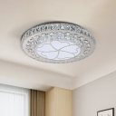 Stainless Steel LED Ceiling Fixture Simple Crystal Clover Patterned Flushmount Lighting for Bedroom
