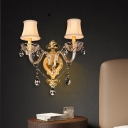 Flared Fabric Wall Lamp Traditional 2 Heads Living Room Sconce Lighting with Crystal Accents, Gold