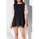 Stylish Girls Patched Flower Sheer Mesh Short Sleeve Crew Neck Mini Pleated A-line Dress in Black