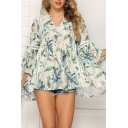 Pretty Womens Allover Flower Printed Hollow out Lace Trim Bell Sleeve V-neck Loose T Shirt