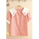 Pretty Girls Peach Embroidery Plaid Printed Stringy Selvedge Short Sleeve Peter Pan Collar Button up Relaxed Shirt in Pink