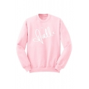 Casual Boys Letter Niall Print Long Sleeve Crew Neck Loose Pullover Sweatshirt in Pink