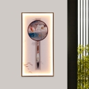 Black Rectangle LED Wall Mural Light Chinese Aluminum Wall Mount Lighting with Lotus/Dragonfly Pattern