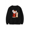 Trendy Cartoon Mouse Pattern Chinese Letter Pullover Long Sleeve Round Neck Regular Fit Graphic Sweatshirt for Men
