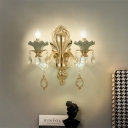 Ceramic Candle Wall Light Traditional 1/2-Head Living Room Sconce with Scalloped Lamp Holder in Green and Gold