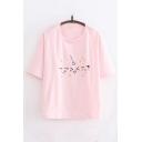 Fancy Girls Cartoon Face Print Short Sleeve Crew Neck Relaxed T-shirt
