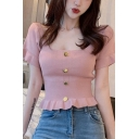 Edgy Looks Solid Color Bell Sleeve Scoop Neck Button down Ruffled Hem Slim Fit T-shirt for Girls