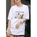 Chic Womens Letter Birmingham Cartoon Graphic Half Sleeve Crew Neck Loose T-shirt in White