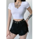 Sexy Girls Plain Knit Short Sleeve Scoop Neck Chain Metallic Butterfly Decoration Fit Cropped Tee Top