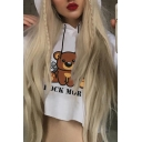 Popular Womens Letter Rock More Bear Graphic Long Sleeve Drawstring Loose Cropped Hoodie in White