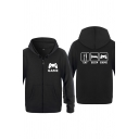 Cool Mens Fork Bed Games Console Letter Eat Sleep Game Printed Zipper up Pocket Drawstring Long Sleeve Regular Fitted Graphic Hoodie
