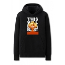 Creative Mens Skull Letter This Will Be a Blast Pattern Drawstring Kangaroo Pocket Cuffed Long Sleeve Regular Fitted Graphic Hoodie