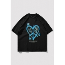 Stylish Mens Heart Letter Lover Peace Printed Short Sleeve Round Neck Relaxed Fitted Graphic T-Shirt