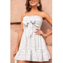 Hot Girls Ditsy Floral Printed Strapless Ruffled Bow Tied Front Short Pleated A-line Tube Dress in White