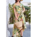 Fashionable Womens Allover Leaf Printed Short Sleeve Surplice Neck Bow Tied Waist High Low Hem Mid Wrap Dress in Green