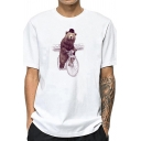 Novelty Mens White Floral Animal Figure Printed Round Neck Short Sleeve Regular Fit Tee Top