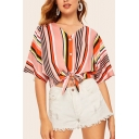 Trendy Womens Colorful Stripe Printed Half Sleeve V-neck Button down Bow Tied Hem Loose Crop Shirt