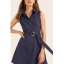 Formal Womens Stripe Printed Sleeveless Spread Collar Button up Belted Mini A-line Shirt Dress in Blue