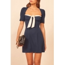 Trendy Womens Puff Sleeve Square Neck Bow Tied Contrasted Mini A-line Dress in Navy