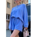 Korean Girls Long Sleeve Crew Neck Relaxed Fit Pullover Sweatshirt in Blue