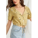 Popular Womens Allover Floral Print Short Sleeve Turn-down Collar Button up Drawstring Hem Regular Fit Cropped Shirt Top in Yellow