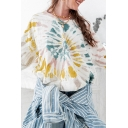 Trendy Womens Tie Dye Pattern Long Sleeve V-neck Relaxed Fit Pullover Sweatshirt