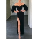 Amazing Womens Solid Color Blouson Sleeve Off the Shoulder High Cut Maxi Shift Evening Dress