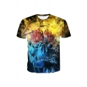 Cozy 3D Skull Fire Pattern Short Sleeve Round Neck Regular Fitted Tee Top for Men