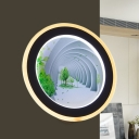 Black-White Circle LED Wall Light Sconce Modern Style Acrylic Spiral Path Mural Lamp