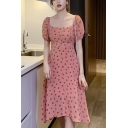 Novelty Girls Polka Dot Printed Button down Puff Sleeve Square Neck Mid A-line Dress in Pink