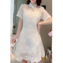 Allover Floral Embroidered See-through Lace Short Sleeve Mandarin Collar Pearl Button Retro Mid A-line Dress in White