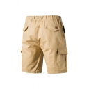 Stylish Men's Plain Drawstring Knee Length Regular Fitted Cargo Shorts with Pockets
