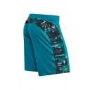 Creative Men's Color Block Graffiti Print Zipper Drawstring over the Knee Slim Sweat Shorts