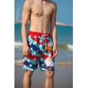 Creative Mens Bird Stars Striped Pattern Drawstring Pocket Knee-length Fitted Shorts