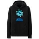 Dressy Mens Virus City Pattern Pocket Drawstring Long Sleeve Regular Fit Hooded Sweatshirt