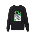 Dressy Car Pattern Japanese Letter Pullover Long Sleeve Round Neck Regular Fit Graphic Sweatshirt for Men