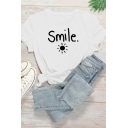 Letter Smile Sun Graphic Short Sleeve Crew Neck Regular Fit Simple T Shirt for Women