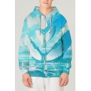 Chic 3D Cloud Building Pattern Pocket Drawstring Long Sleeve Fitted Hooded Sweatshirt for Men