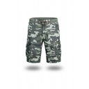 Cool Men's Camo Pattern Drawstring Zipper Knee Length Straight Fit Cargo Shorts with Pockets