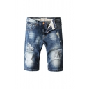 Cool Men's Zip Fly Pocket Distressed Medium Wash Knee-length Regular Fit Denim Shorts in Dark Blue