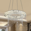Hoop Chandelier Pendant Light Contemporary Clear Crystal Block LED Suspension Lamp