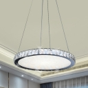 Minimal Round Hanging Lighting Crystal Block Living Room LED Chandelier Lamp Fixture in Stainless-Steel