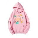 Popular Letter Universe Planet Rocket Graphic Long Sleeve Drawstring Loose Hoodie with Pocket