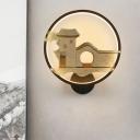 House Patterned Sconce Lighting Asian Metallic White/Black Ring LED Wall Mural Lamp for Living Room