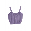 Chic Womens Solid Color Pleated Button Detail V Neck Sleeveless Slim Fit Crop Tank Top in Purple
